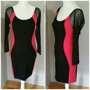 Black/red body con clubbing dress. NWT Large